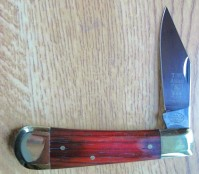 Clippoint Blade With Redwood Handle